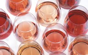 Rosé wine colors --depending on how long the skins are left in the wine.